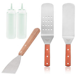 Griddle Tools Bundle, 2 Turners, 1 Scraper, 2 Bottles [5 piece set]